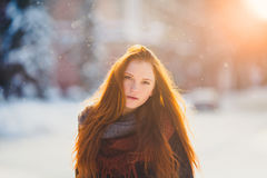 Free Portrait Beautiful Redhair Girl In Frosty Winter Weather. Royalty Free Stock Photography - 78938617