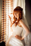 Portrait of beautiful redhead bride posing at window with jalous Stock Photography