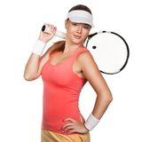 Portrait of beautiful redhead fit woman tennis. Beautiful girl tennis player with a racket on isolated white background. Tennis advertisement royalty free stock photos