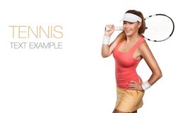 Portrait of beautiful redhead fit woman tennis. Beautiful girl tennis player with a racket on isolated white background. Tennis advertisement stock photos