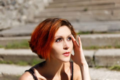 Portrait of beautiful redhead girl Royalty Free Stock Image