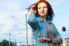 Portrait of beautiful redhead girl Royalty Free Stock Photos