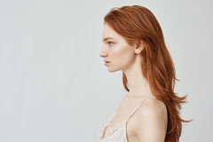 Portrait of beautiful redhead girl posing in profile. Royalty Free Stock Image