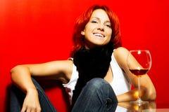 Portrait of the beautiful redhead woman stock photo