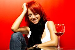 Portrait of the beautiful redhead woman Royalty Free Stock Photography