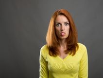Portrait of beautiful redhead woman Royalty Free Stock Photography