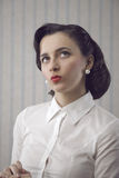 Portrait of beautiful retro business woman Royalty Free Stock Photography