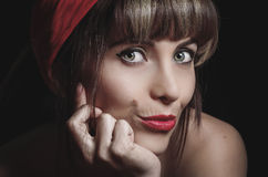 Portrait of beautiful retro girl with red lips Stock Photos
