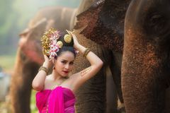Portrait of Beautiful rural thai woman wear thai dress Royalty Free Stock Photography