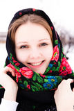 Portrait of beautiful russian girl in a shawl Royalty Free Stock Photo