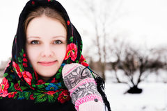 Portrait of beautiful russian girl in a shawl Stock Photo
