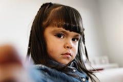 Portrait of beautiful sad girl. Portrait of beautiful sad girl at home Stock Image
