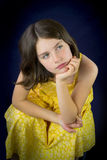 Portrait of beautiful sad little girl Stock Photo