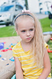 Portrait of beautiful sad little girl Royalty Free Stock Photo