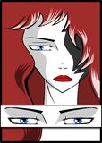 Sad woman portrait with red hair royalty free illustration