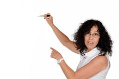 School teacher writing with marker. Royalty Free Stock Photos