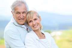 Portrait of beautiful senior couple outdoors Stock Images