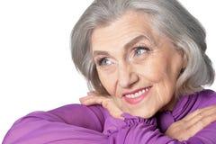 Portrait of beautiful senior woman on white background royalty free stock image