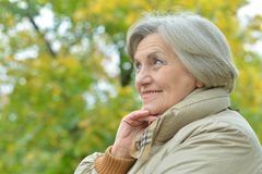 Portrait of beautiful senior woman posing. In  park Royalty Free Stock Images