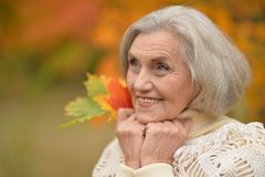 senior woman posing  in  park Stock Images