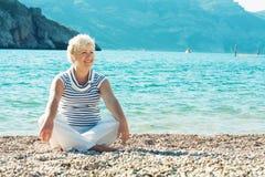 Portrait of beautiful senior woman on the seaside Stock Image