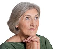 Portrait of beautiful senior woman on white background royalty free stock images
