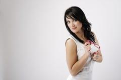 Portrait of the beautiful, sensory. Beautiful sensory woman on the white background Stock Images