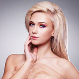 Portrait of a beautiful sensual blonde woman. Royalty Free Stock Photography