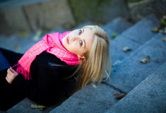 Portrait of beautiful sensual girl with thick blond hair and blu Stock Image