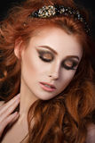 Portrait of beautiful sensual red-haired woman Stock Image