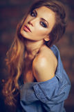 Portrait of a beautiful sensual girl with long brown hair a royalty free stock image