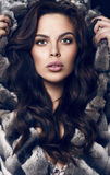 Portrait of beautiful sensual woman with dark hair in luxurious black hair Stock Photos