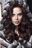Portrait of beautiful sensual woman with dark hair in luxurious fur coat Stock Images