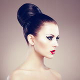 Portrait of beautiful sensual woman with elegant hairstyle.  Per. Fect makeup. Fashion photo Stock Image