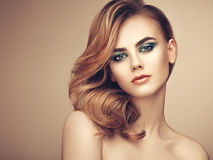 Portrait of beautiful sensual woman with elegant hairstyle Royalty Free Stock Images