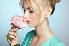 Portrait of beautiful sensual woman with elegant hairstyle Stock Image