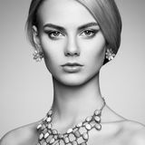 Portrait of beautiful sensual woman with elegant hairstyle Royalty Free Stock Photography