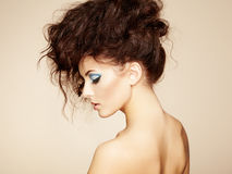 Portrait of beautiful sensual woman with elegant hairstyle.    Stock Photo