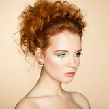 Portrait of beautiful sensual woman with elegant hairstyle Royalty Free Stock Image