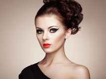 Portrait of beautiful sensual woman with elegant hairstyle Stock Images