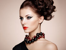 Portrait of beautiful sensual woman with elegant hairstyle Stock Photos