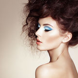 Portrait of beautiful sensual woman with elegant hairstyle Stock Photography