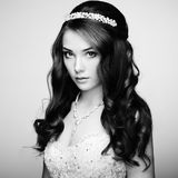 Portrait of beautiful sensual woman with elegant hairstyle. Wedd Royalty Free Stock Images