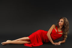 Portrait of Beautiful Sensual Woman in Fashion Red Dress. stock images