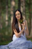 Portrait of beautiful sensual woman with flowers Royalty Free Stock Photography