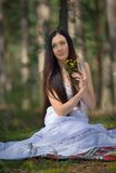 Portrait of beautiful sensual woman with flowers Royalty Free Stock Photos