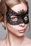 Portrait of beautiful sensual woman with green eyes in black lac Royalty Free Stock Images