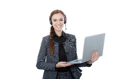 Portrait of a beautiful service customer worker holding a laptop. White background Royalty Free Stock Photo