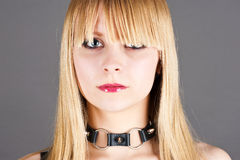 Sexual submissive girl. Portrait beautiful sexual submissive girl Royalty Free Stock Images