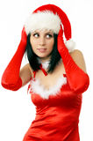 Portrait of beautiful sexy. Girl wearing santa claus clothes Stock Photography